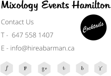 f P g+ t b Y Cocktails Mixology Events Hamilton Contact Us T -  647 558 1407  E - info@hireabarman.ca